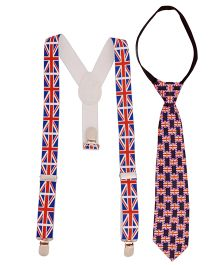 Miss Diva Set Of Flag Printed Tie & Suspender - Navy Red & White