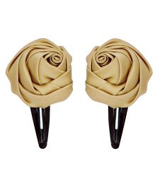 Miss Diva Set Of Two Rose Tic Tac Hair Clips - Golden