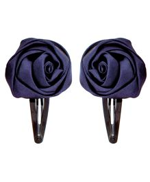 Miss Diva Set Of Two Rose Tic Tac Hair Clips - Navy