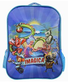 Imagica Character Embossed School Bag Sky Blue - 16 inch