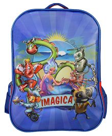 Imagica Character Embossed School Bag Blue & Red - 16 inch