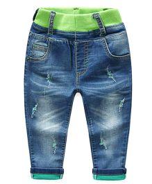 Mauve Collection High Waist Denim Pants - Navy Blue