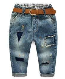 Mauve Collection Patch Work Rugged Jeans With Belt - Navy Blue