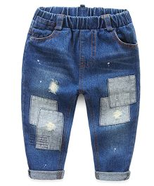 Mauve Collection Rugged Patch Work Denims - Blue