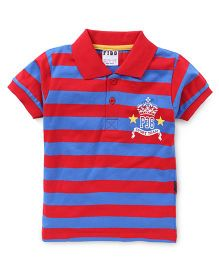 Fido Half Sleeves Striped T-Shirt Sport Team Print - Red & Blue