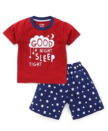 Fido Half Sleeves T-Shirt & Shorts Set Good Night Print - Red & Blue