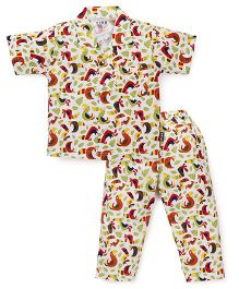 Fido Half Sleeves Night Suit Birds Print - Multi Color