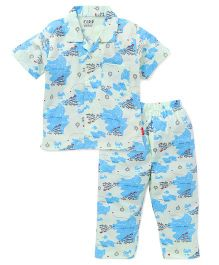 Fido Half Sleeves Night Suit - Blue