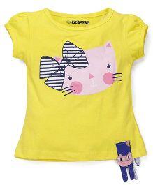 E-Todzz Short Sleeves Top Kitty Print - Yellow