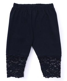 Babyhug Full Length Leggings With Lace Hem - Navy Blue