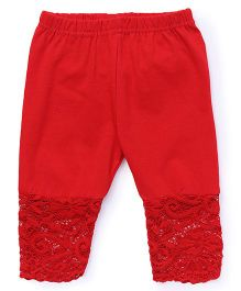 Babyhug Full Length Leggings With Lace Hem - Red