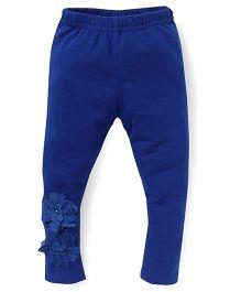 Babyhug Full Length Leggings Floral Design - Royal Blue