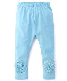 Babyhug Full Length Leggings Floral Design - Sky Blue