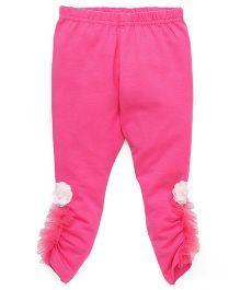Babyhug Full Length Leggings Ruched Hem & Felt Flower Detail - Fuchsia Pink