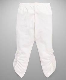 Babyhug Full Length Leggings Ruched Hem & Felt Flower Detail - Off White