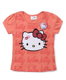Hello Kitty by Babyhug Short Puffed Sleeves Tee With Badge - Orange