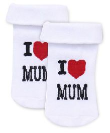 Cute Walk by Babyhug Anti Bacterial Socks I Love Mum Print - White