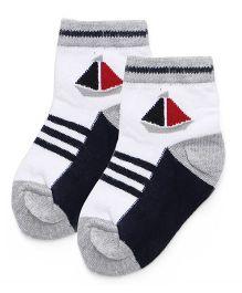 Cute Walk By Babyhug Ankle Length Dual Color Socks - Black Grey