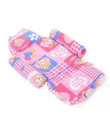 Little's Baby Bed With Bolsters And Pillow Teddy Print - Pink