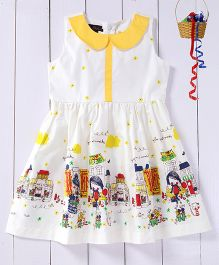Pspeaches Dress With Peter Pan Collar & Back Tie Up - White & Yellow
