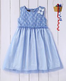 Pspeaches Dress With Ruffle Work On The Belt - Blue