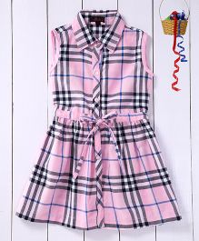 Pspeaches Checkered Shirt Dress - Pink