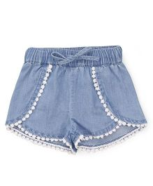 Fox Baby Drawstring Shorts - Light Blue