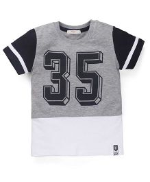 Fox Baby Half Sleeves T-Shirt Number 35 Print - Black & White