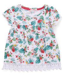 Fox Baby Short Sleeves Tropical Top Lace Hem - White & Multicolor