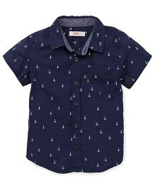 Fox Baby Half Sleeves Shirt Anchors Print - Navy Blue