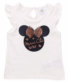 Fox Baby Flutter Sleeves Top Minnie Print - Off White