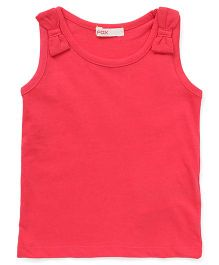 Fox Baby Sleeveless Tee With Bow Appliques - Light Red