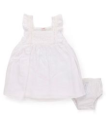 Fox Baby Lace Frock With Bloomer - Off White
