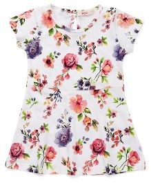 Fox Baby Shorts Sleeves Frock Floral Print - Off White