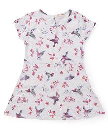 Fox Baby Shorts Sleeves Frock Bird Print - Light Grey