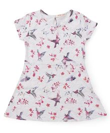 Fox Baby Shorts Sleeves Frock Bird Print - Light Grey