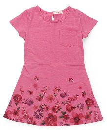 Fox Baby Short Sleeves Frock Floral Print - Pink