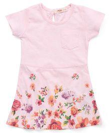 Fox Baby Short Sleeves Frock Floral Print - Pastel Pink