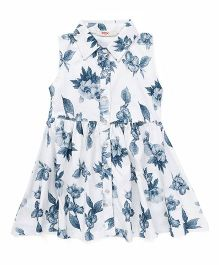 Fox Baby Sleeveless Frock Floral Print - White Blue