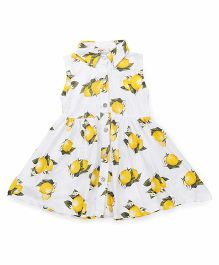 Fox Baby Sleeveless Frock Floral Print - White Yellow