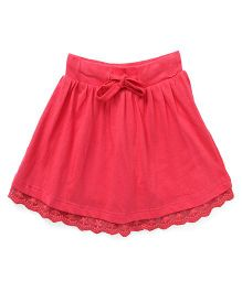 Fox Baby Skirt With Lace Hem And Drawstring - Light Red