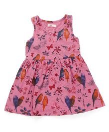 Fox Baby Sleeveless Frock Printed - Pink