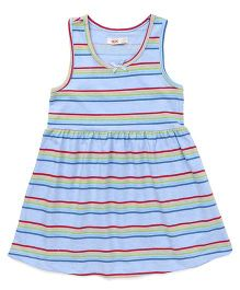 Fox Baby Sleeveless Frock Stripes Print - Sky Blue