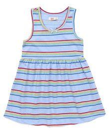 Fox Baby Sleeveless Frock Stripes Print - Sky Blue