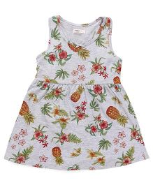 Fox Baby Sleeveless Frock Fruit & Floral Print - Melange Grey