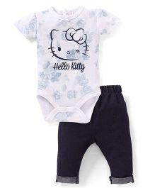 Fox Baby Half Sleeves Onesies And Leggings Hello Kitty Print - White Black