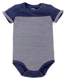 Fox Baby Half Sleeves Striped Onesies - Blue & Grey