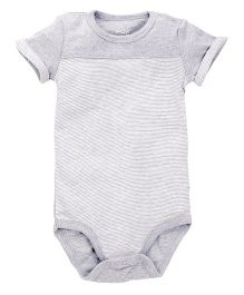 Fox Baby Half Sleeves Striped Onesies - Melange Grey
