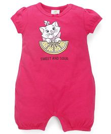 Fox Baby Short Sleeves Romper Kitty Print - Fuchsia Pink