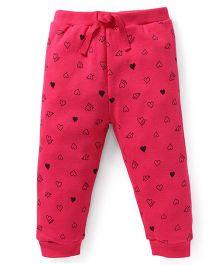 Fox Baby Track Pant Allover Heart Print - Fuchsia Pink